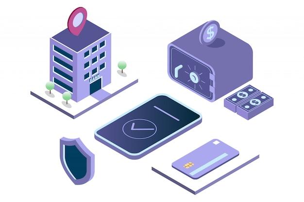 Illustrazione mobile banking, risparmio di denaro in cassetta di sicurezza