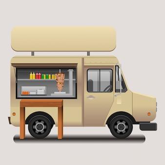 Illustrazione mobile editabile di vettore del camion dell'alimento di kebab del cellulare