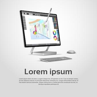 Illustrazione moderna da tavolino di vettore del posto di lavoro del grafico del computer