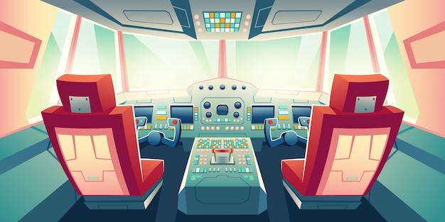 Illustrazione moderna del fumetto della cabina di pilotaggio del jet di affari