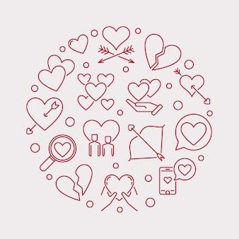 Illustrazione moderna del profilo rotondo di amore