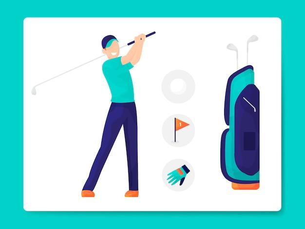Illustrazione moderna dell'attrezzatura di golf piana