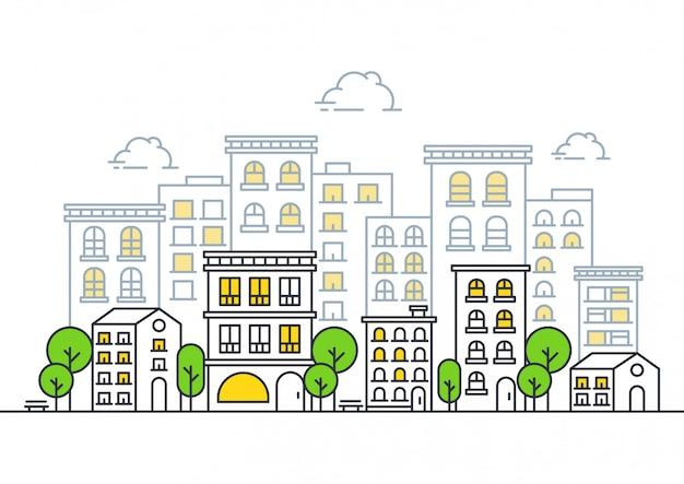 Illustrazione moderna della linea di città