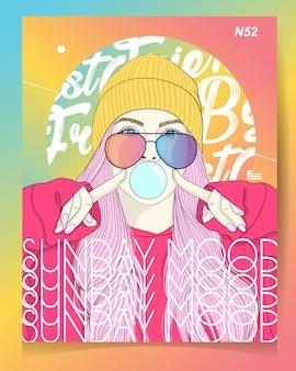 Illustrazione moderna della ragazza con l'umore di domenica del testo