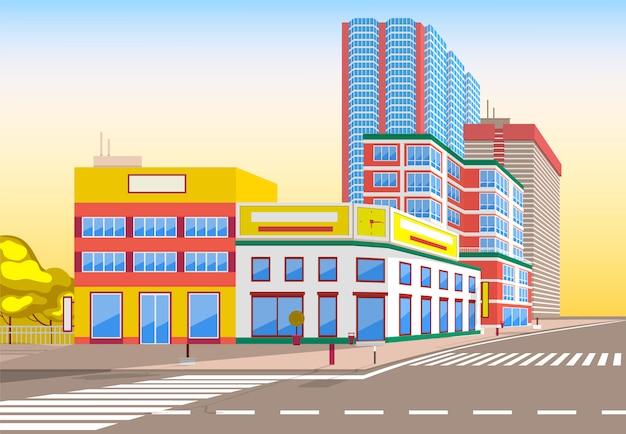 Illustrazione moderna della via della città