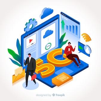 Illustrazione moderna di affari per internet 5g