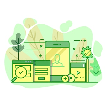 Illustrazione moderna di colore verde piano dell'interfaccia utente