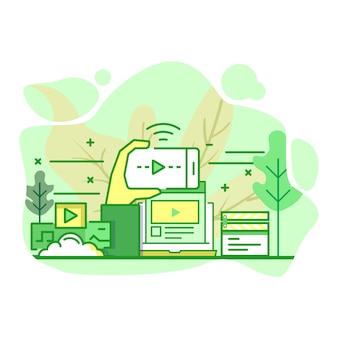 Illustrazione moderna di colore verde piano della piattaforma di flusso
