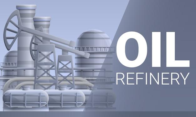 Illustrazione moderna di concetto della raffineria di petrolio, stile del fumetto