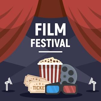 Illustrazione moderna di concetto di festival cinematografico, stile piano