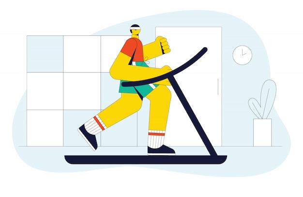 Illustrazione moderna di un uomo che corre su un tapis roulant. il ragazzo in palestra fa allenamento cardio.