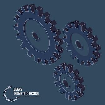Illustrazione moderna di vettore degli ingranaggi isometrici con sul gray