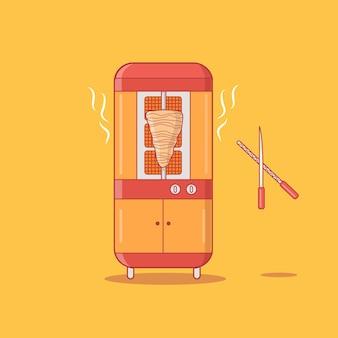 Illustrazione moderna di vettore della macchina della griglia di gyros shawarma