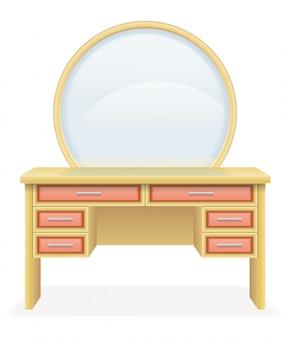 Illustrazione moderna di vettore della mobilia della tavola di vanità