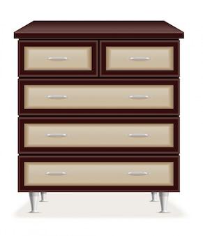 Illustrazione moderna di vettore di cassettiera di legno della mobilia