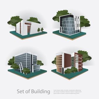 Illustrazione moderna di vettore di prospettiva della costruzione della città