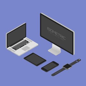 Illustrazione moderna di vettore isoetrico monitor, computer, laptop, telefono, tablet e orologio intelligente.