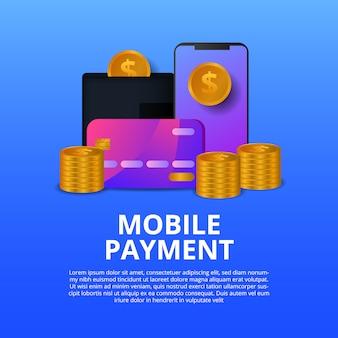 Illustrazione moderna mobile di concetto di pagamento con la moneta dorata, telefono, carta di credito.