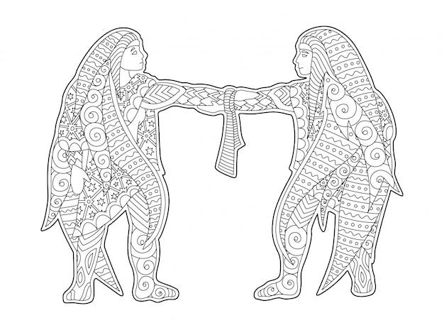 Illustrazione monocromatica con gemelli segno zodiacale