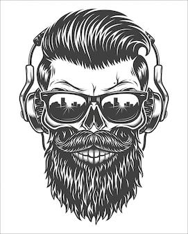 Illustrazione monocromatica del cranio