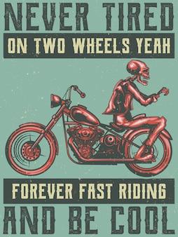Illustrazione monocromatica del motociclista di scheletro su una moto isolata su bianco.