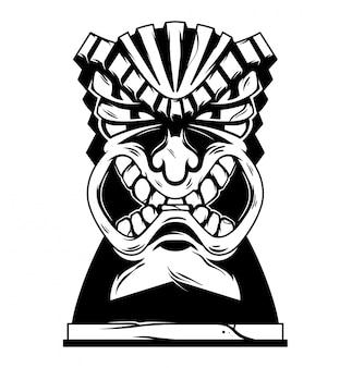 Illustrazione monocromatica di maschera tiki arrabbiata tribale delle hawaii dell'annata.