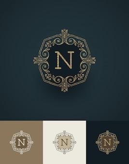 Illustrazione monogramma glitter oro.