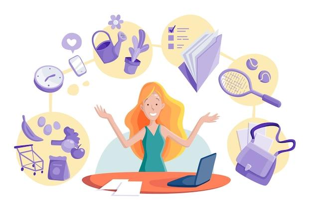 Illustrazione multitasking di concetto della donna