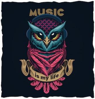 Illustrazione musicale dell'illustrazione di progettazione della maglietta del gufo