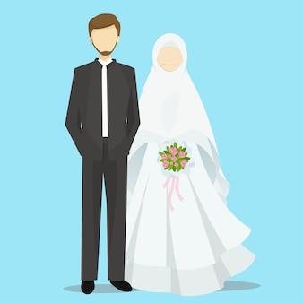 Illustrazione musulmana dei personaggi dei cartoni animati della sposa e dello sposo