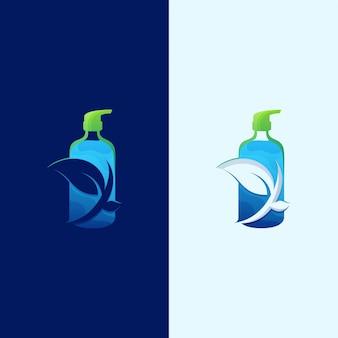 Illustrazione naturale impressionante di logo del prodotto disinfettante delle mani