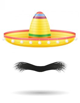 Illustrazione nazionale di vettore del copricapo e dei baffi del messicano del sombrero