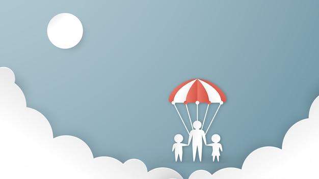 Illustrazione nel concetto di progettazione di assicurazione sanitaria su sfondo blu pastello