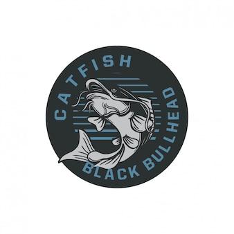 Illustrazione nera del distintivo di logo del pesce gatto del bullhead nel retro stile d'annata