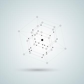 Illustrazione nera del poliedro 3d.