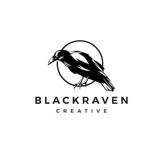 Illustrazione nera dell'icona di vettore di logo del corvo del corvo