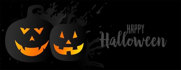 Illustrazione nera di halloween con due zucche