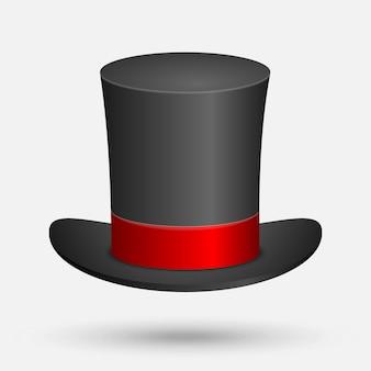 Illustrazione nera di vettore del cappello superiore isolata su fondo bianco