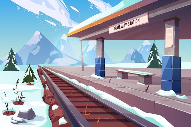 Illustrazione nevosa del paesaggio di inverno delle montagne della stazione ferroviaria