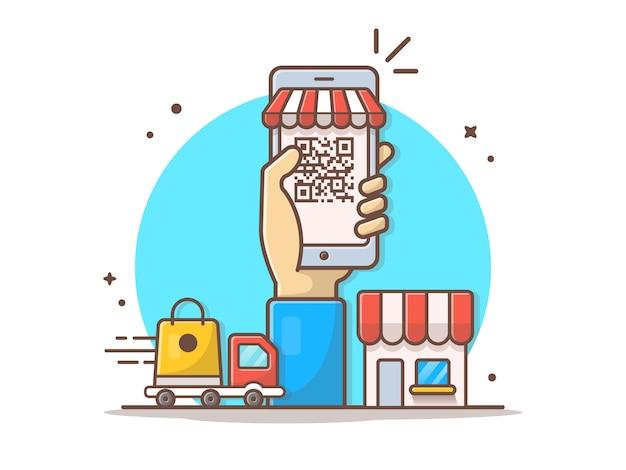 Illustrazione online del clipart di vettore di commercio elettronico del codice a barre