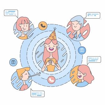 Illustrazione online del collegamento di saluti di compleanno
