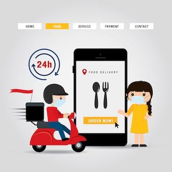 Illustrazione online del fumetto di concetto di servizio di distribuzione. uomo in sella a una moto scooter. infografica di ordine alimentare online. covid19. quarantena in città.