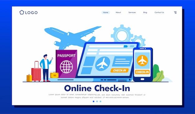 Illustrazione online del sito web della pagina di destinazione del check-in
