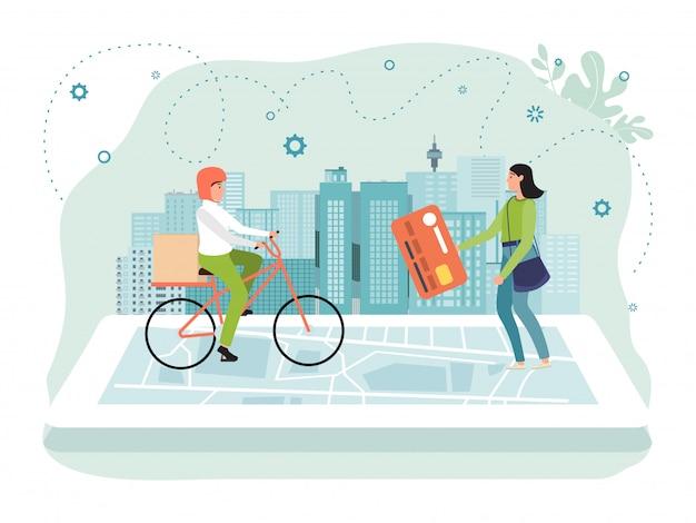 Illustrazione online di concetto di app di consegna, carattere piano del corriere della bicicletta dell'uomo che consegna scatola alla donna minuscola del fumetto isolata su bianco