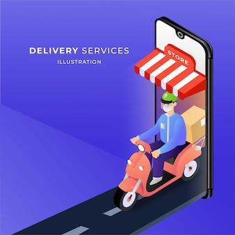 Illustrazione online di consegna del corriere di acquisto