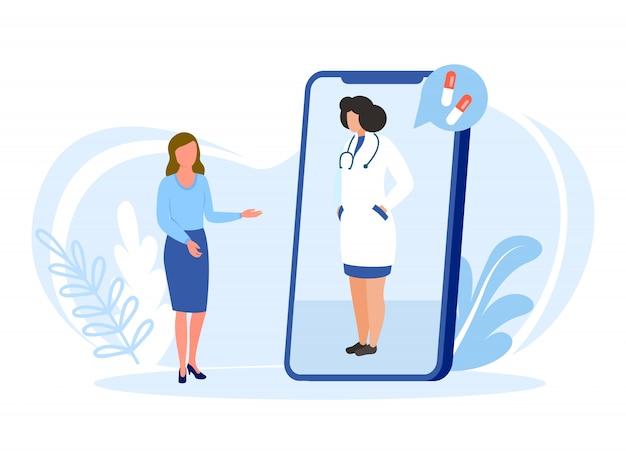 Illustrazione online di medico isolata. il medico consulta il paziente online, consiglia le pillole di farmaci per cure mediche.