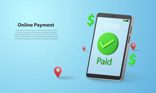 Illustrazione online di pagamento 3d con l'illustrazione dello smartphone