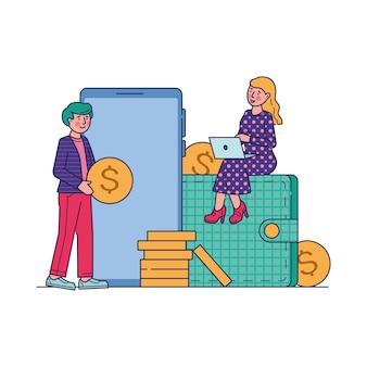 Illustrazione online di vettore di compera del mercato di commercio elettronico