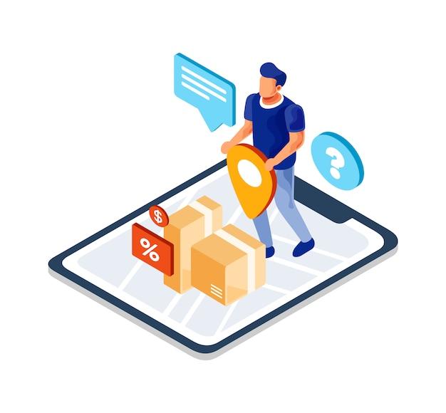 Illustrazione online isometrica dell'applicazione di inseguimento di consegna