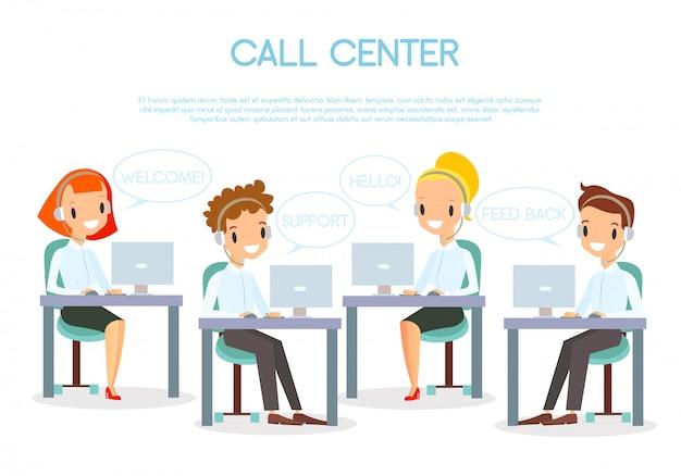 Illustrazione operatori di call center nei computer portatili di lavoro in ufficio e in cuffia.